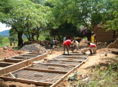 Reinforced Concrete floor slabs being prepared for the new Latrine Block