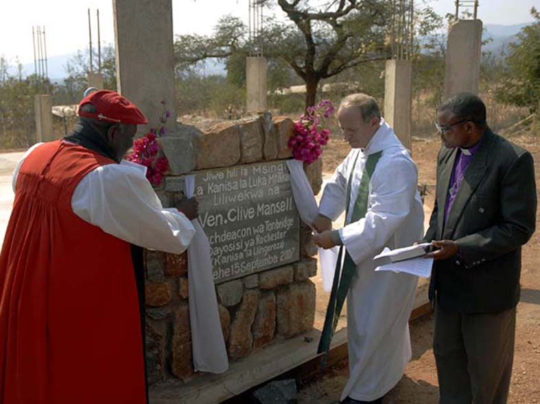 Ven. Clive Mansell Unveils the Foundation Stone for St. Luke's Chapel