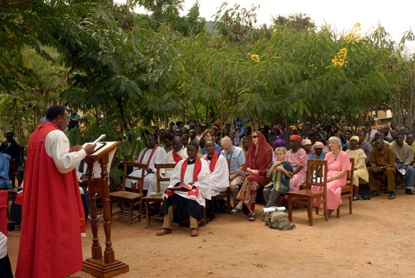 The Assembled Congregation listen to +Jacob Chimeledya Preach about St. Luke